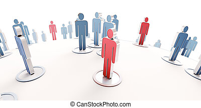 Contagion - 3D rendering of blue human pictograms and red ...