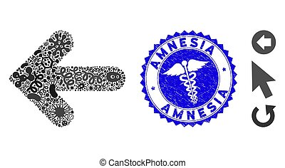 Contagion Collage Arrow Left Icon with Medicine Distress Amnesia Stamp