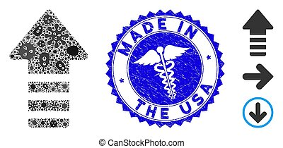 Contagion Collage Arrow Pointer Icon with Healthcare Distress Made in the USA Stamp