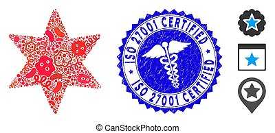 Contagion Collage Six-Pointed Star Icon with Doctor Grunge ISO 27001 Certified Stamp