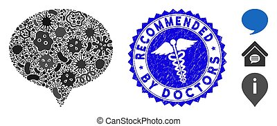 Contagion Mosaic Hint Icon with Healthcare Scratched Recommended by Doctors Seal