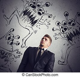 Contagion of virus - Man fearful of the contagion of virus