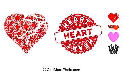 contagioso, corazón, mosaico, redondo, estampilla, amor,...