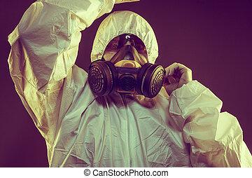 contagioso, virus, infezione, concept., uomo, in, causa protettiva, e, antigas, maschera, con, glasses., ebola, tossico, gas, guerra biologica, infezioni, e, malattie