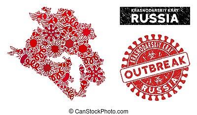 Contagious Collage Krasnodarskiy Kray Map with Distress ...