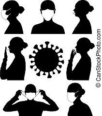 Contagious disease set isolated on white