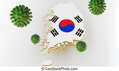 Contagious COVID-19, Flur or Coronavirus with South Korea map. Coronavirus from chine. 3D rendering
