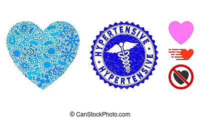 Biohazard mosaic love heart icon and rounded rubber stamp seal with Hypertensive phrase and medicine sign. Mosaic vector is composed with love heart pictogram and with randomized virus items.