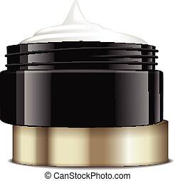 container., 金, mockup, 帽子, ジャー, プラスチック, cosmetics., ベクトル, 黒, テンプレート, 開いた, ラウンド
