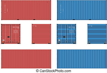 Container - 20 feet shipping container in four views.