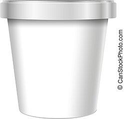 container., alimento, cubo, plástico, blanco, tina