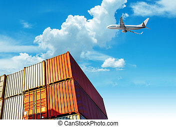 Container and aircraft on the dock