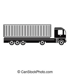 Container at the dock with truck black simple icon
