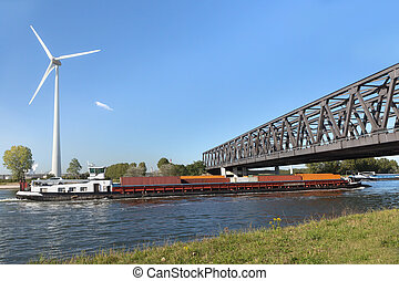 Container barge on Antwerp canal