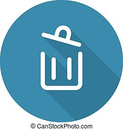 Container Button. Trash Can Icon. Flat Design. Long Shadow. ...