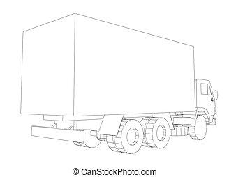 container., cargaison, concept, transport, camion