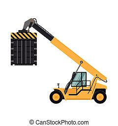 Container cargo forklifts. Vector design of industrial ...