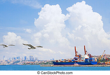 Container Cargo freight ship by crane bridge.