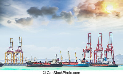 Container Cargo freight ship with working crane