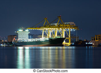 Container Cargo freight ship with working crane bridge in shipyard at dusk for Logistic Import Export background nearby river