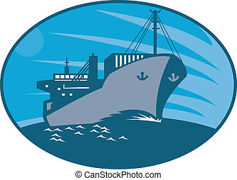 Illustration of a container cargo freighter ship sailing on sea done in retro style set inside ellipse.
