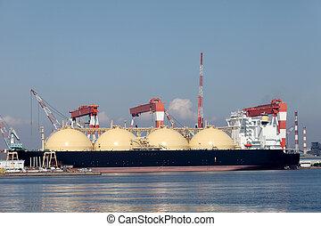 Container cargo ship - LNG cargo ship docked in the...