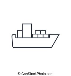 container cargo ship thin line icon. Linear vector symbol