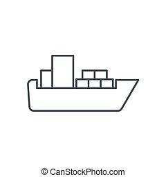 container cargo ship thin line icon. Linear vector symbol