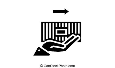 container carrying animated glyph icon. container carrying sign. isolated on white background