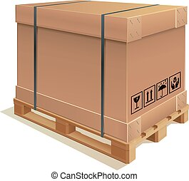 Container carton - Cardboard container with wooden pallet