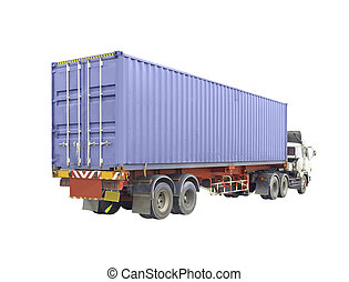 container - Container box on truck, isolated on white ...