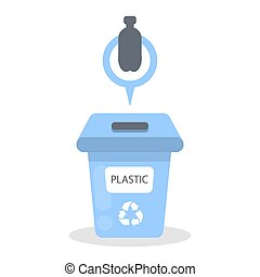 container., déchets, plastique