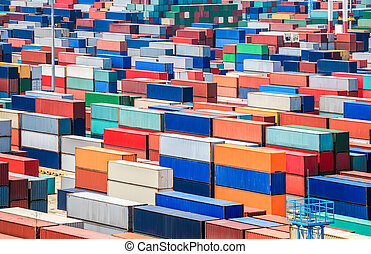 container depot in terminal - numerous containers in the ...