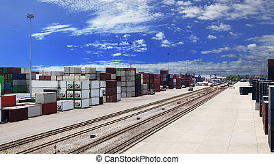 container dock and rail ways logistic use for land transport, import export freight ,shipping cargo business