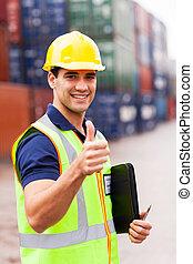 container, duim, geven, arbeider, op, magazijn