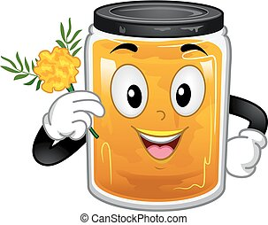 Container Dye Marigold Mascot Illustration - Illustration of...