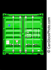 container green - stack of conntainer - all company names,...