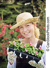 container-grown, plantas, mujer