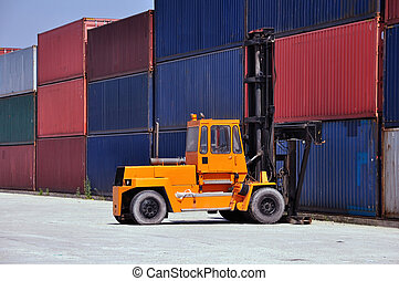 Container handling big forklift in a terminal