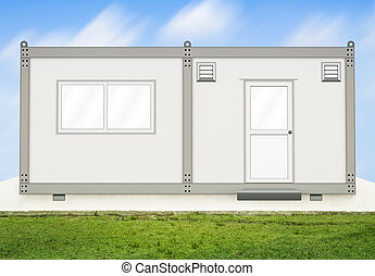 Container house - Gray container house on concrete pedestal ...