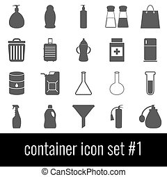 Container. Icon set 1. Gray icons on white background.