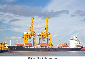 container, lading, vracht, industrail, scheeps
