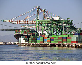 Container Land - Containers, cranes, bridge and ship in warm...