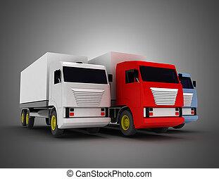 container., lastbil, illustration, 3