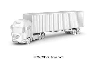 container., lastbil, tom