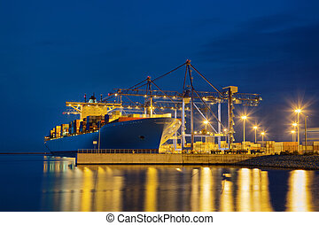 Container loading - Large cargo ship on loading in the port ...