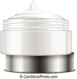 container., mockup, 帽子, ジャー, プラスチック, cosmetics., ベクトル, テンプレート, 白, 開いた, 銀, ラウンド