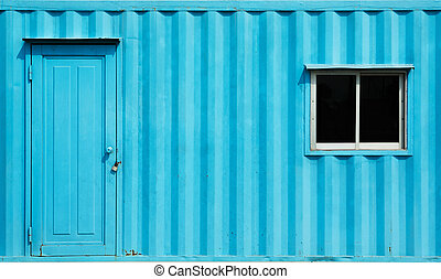 Container office - Blue color container office with door and...