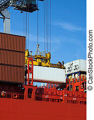 Container on red ship