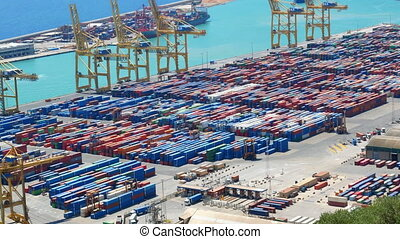 Container port ship aerial